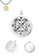 www.snowfall-beads.be - Roestvrijstalen DoubleBeads EasySwitch hanger/parfum medaillon DQ 37x30mm voor 21mm vilten schijf - D21688