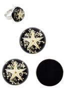 www.snowfall-beads.de - Gießharz Trockenblumen Klebesteine/Cabochons DQ rund mit Seestern 20mm - D21699