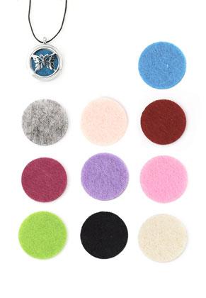 www.snowfall-beads.nl - Mix vilten Doublebeads EasySwitch schijven/parfumkussentjes rond 21mm