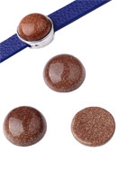 www.snowfall-beads.com - Natural stone flat backs/cabochons round Brown Sandstone 15mm - D21763
