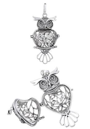 www.snowfall-beads.com - Metal pendant angel caller/Prayer Box owl 59x24mm