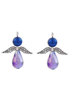 www.snowfall-beads.nl - Metalen en glas hangers/bedels engel 38x32mm