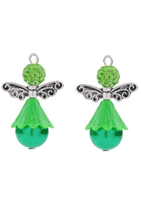 www.snowfall-beads.nl - Metalen en kunststof hangers/bedels engel met strass 33x15mm