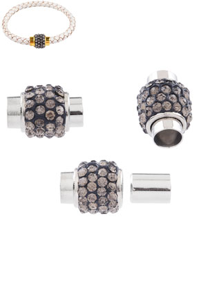 www.snowfall-beads.com - Metal magnetic clasps with strass 17x12mm