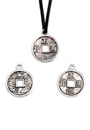 www.snowfall-beads.com - Metal pendants/charms Chinese good luck coin 19x15mm - D22506