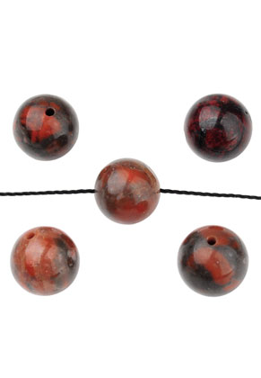 www.snowfall-beads.com - Natural stone beads Brecciated Jasper round 10mm