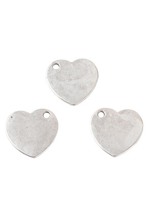 www.snowfall-beads.nl - Metalen naamlabel hangers/bedels hartje 20mm
