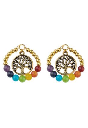 www.snowfall-beads.fr - Pendentif Rainbow Chakra en pierre naturelle et métal arbre 41x33mm