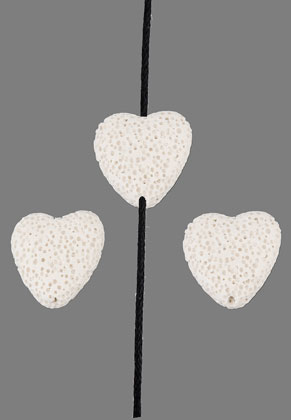 www.snowfall-beads.com - Natural stone perfume beads lava rock heart 20mm
