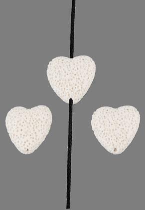 www.snowfall-beads.com - Natural stone perfume beads lava rock heart 20mm