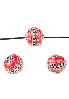 www.snowfall-beads.com - Metal Kashmiri beads with polymer clay 20mm