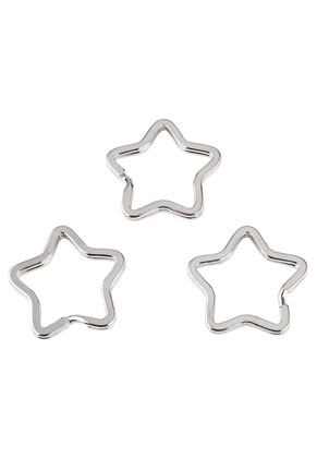 www.snowfall-beads.com - Metal key fob rings star 34x32,5mm