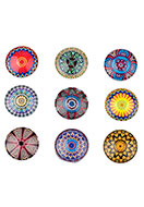 www.snowfall-beads.be - Mix glas plakstenen/cabochons rond met mandala print 16mm - D23211