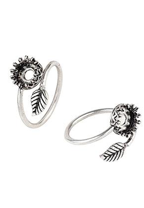 www.snowfall-beads.de - Brass Ring Blättchen >= Ø 16,5mm mit Fassung für 8mm Klebstein
