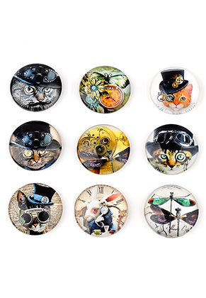 www.snowfall-beads.nl - Mix glas plakstenen/cabochons rond met steampunk print 18mm