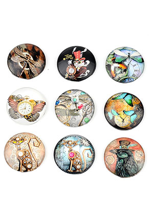 www.snowfall-beads.nl - Mix glas plakstenen/cabochons rond met steampunk print 25mm