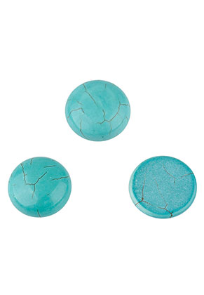 www.snowfall-beads.nl - Natuursteen plaksteen/cabochon Turquoise Howlite rond 25mm
