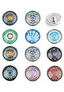 www.snowfall-beads.com - Mix DoubleBeads EasyButton press studs with mandala print size L - D23398