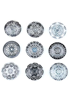 www.snowfall-beads.fr - Mélange de cabochons en verre circulaire avec imprimé mandala 18mm