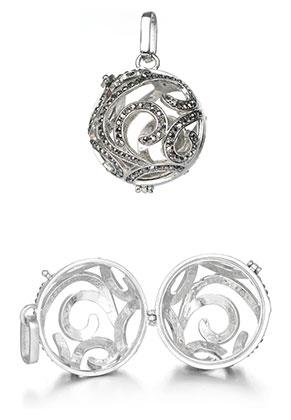 www.snowfall-beads.nl - Metalen hanger engelenroeper/Prayer Box met strass 42x33mm