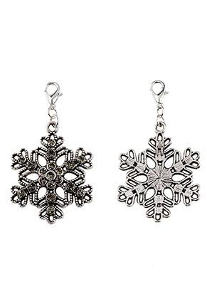 www.snowfall-beads.fr - Pendentifs de métal flocon de neige avec strass et fermoir 57x32mm