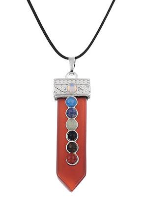 www.snowfall-beads.nl - Natuursteen Rainbow Chakra hanger 60x16mm