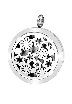 www.snowfall-beads.be - Roestvrijstalen DoubleBeads EasySwitch hanger/parfum medaillon DQ 37x30mm voor 21mm vilten schijf