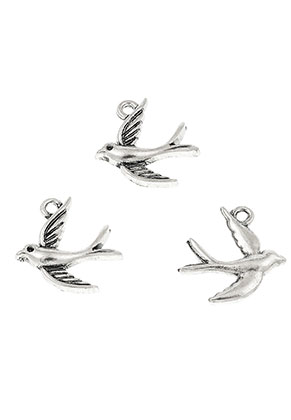 www.snowfall-beads.com - Metal pendants/charms swallow 16x14mm