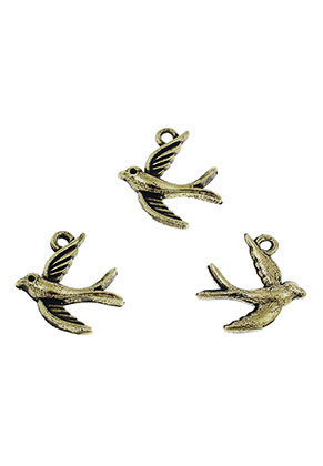 www.snowfall-beads.com - Metal pendants/charms swallow 16x14mm
