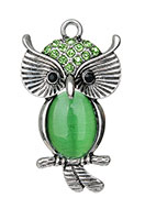www.snowfall-beads.com - Metal pendant owl with strass and glass cateye 45x26mm - D23977
