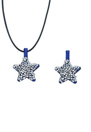 www.snowfall-beads.fr - Pendentif en daim artificiel avec strass étoile 27x21mm