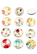 www.snowfall-beads.com - Mix glass flat backs/cabochons round with flowers 18mm - D24218