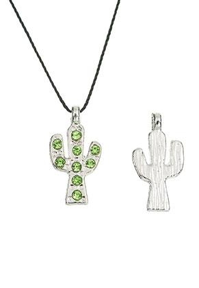 www.snowfall-beads.nl - Metalen hangers/bedels cactus met strass 20x10mm