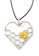 www.snowfall-beads.com - Metal pendant heart with honeycomb 40x35mm - D24582