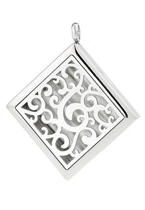 www.snowfall-beads.be - Roestvrijstalen hanger/parfum medaillon DQ 48x42,5mm voor 23mm vilten schijf