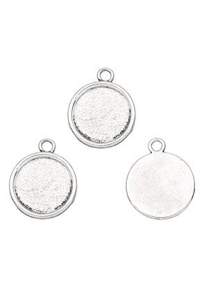 www.snowfall-beads.nl - Metalen hangers rond 26x21,5mm met kastje voor 18mm plaksteen