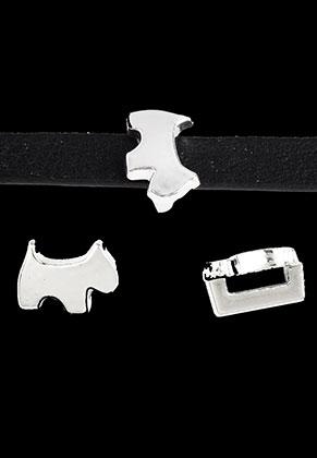 www.snowfall-beads.co.uk - Metal slide-beads dog 10x7,5mm