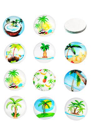www.snowfall-beads.nl - Mix glas plakstenen/cabochons rond met palmbomen print 16mm