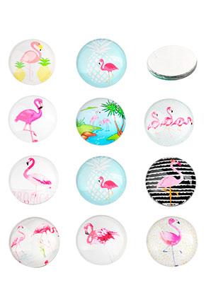 www.snowfall-beads.nl - Mix glas plakstenen/cabochons rond met flamingo's print 16mm