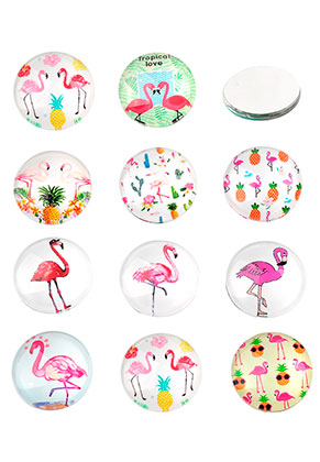 www.snowfall-beads.nl - Mix glas plakstenen/cabochons rond met flamingo's print 16mm