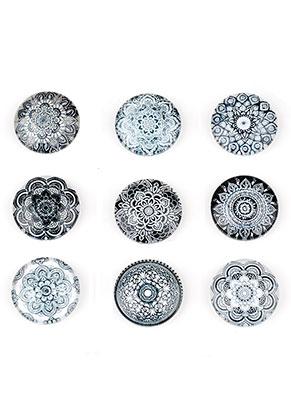 www.snowfall-beads.com - Mix glass flat backs/cabochon with mandala print 12mm