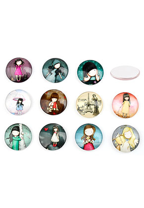 www.snowfall-beads.com - Mix glass flat backs/cabochons round with girl 25mm