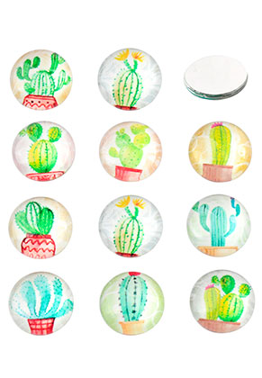 www.snowfall-beads.nl - Mix glas plakstenen/cabochons rond met cactus print 12mm