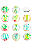 www.snowfall-beads.com - Mix glass flat backs/cabochons round with cactus print 12mm - D24880