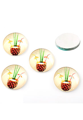 www.snowfall-beads.nl - Glas plakstenen/cabochons rond met ananas print 16mm