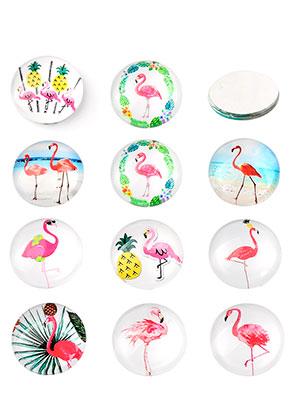 www.snowfall-beads.nl - Mix glas plakstenen/cabochons rond met flamingo's print 12mm