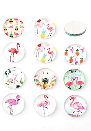 www.snowfall-beads.de - Mix Glas Klebsteine/Cabochons rund mit Flamingos Print 30mm