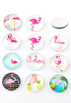 www.snowfall-beads.be - Mix glas plakstenen/cabochons rond met flamingo's print 14mm