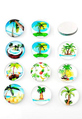 www.snowfall-beads.nl - Mix glas plakstenen/cabochons rond met palmbomen print 30mm