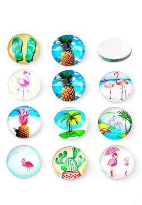 www.snowfall-beads.nl - Mix glas plakstenen/cabochons rond met tropische print 10mm